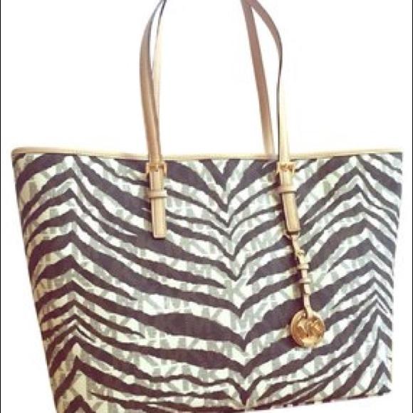 90fe06e4a27f Michael Kors Bags | Zebra Print Large Tote Bag | Poshmark